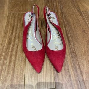 Sam Edelman red suede kitten heel sling back